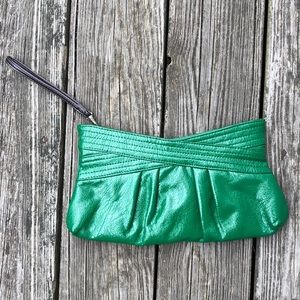 NWOT Bright Green Crinkled Patent Leather Clutch